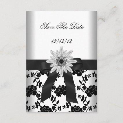 Save The Date Party Black White Flower Diamond