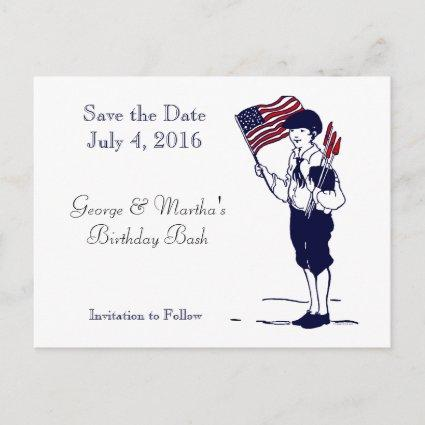 Save the Date Patriotic Flag Fireworks