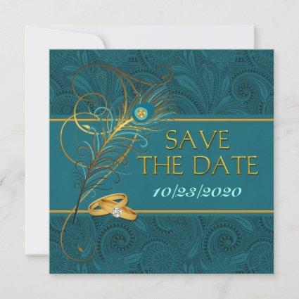 Save the Date Peacock Teal Wedding