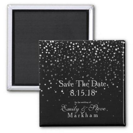 Save The Date Petite Silver Stars Magnet-Black Magnet