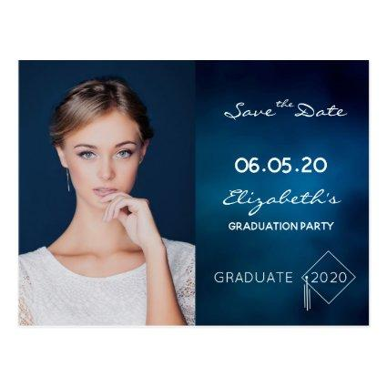 Save the Date photo blue graduation party 2020