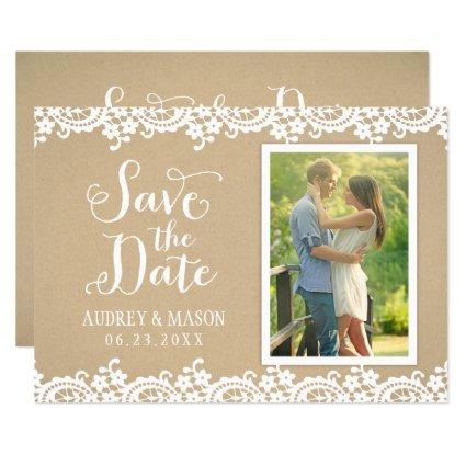 Save the Date Photo Cards | Lace and Kraft