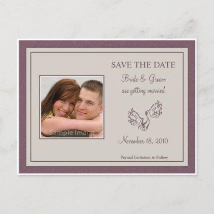 Save the Date Photo Cards - Mauve Doves