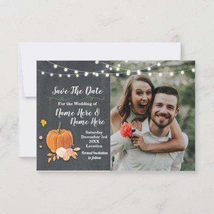 Save The Date Photo Chalk Pumpkin Photo Wedding
