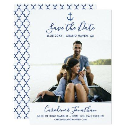 Save the Date Photo Classic Blue Nautical Anchor Invitation