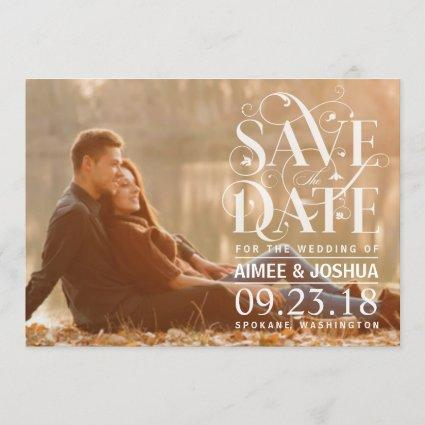 Save the Date Photo - Floral Flourish Typography