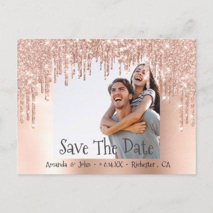 Save The Date Photo Glitter Engagement Rose Blush Announcement