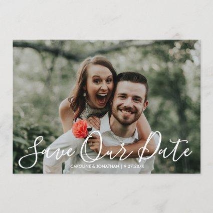 Save the Date Photo Handpainted Watercolor Flowers