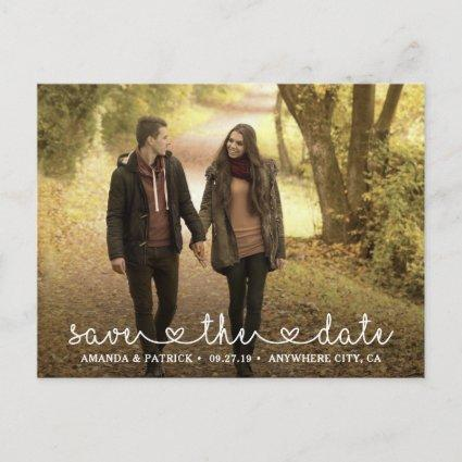 Save the Date Photo Heart Typography Wedding Announcements Cards