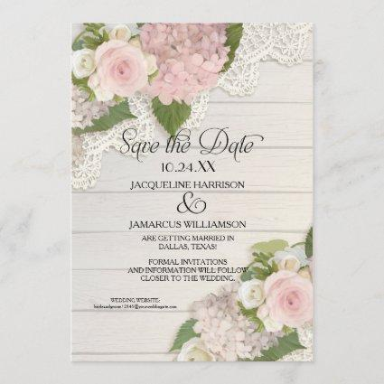 Save the Date Photo Lace Pink Hydrangea Wood Fence