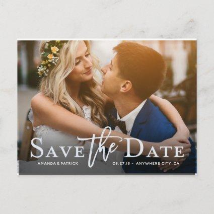 Save the Date Photo Modern Typography Wedding Announcements Cards