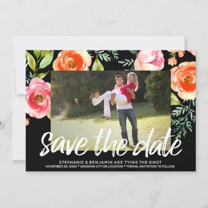 Save the Date Photo - Painted Flowers Black White