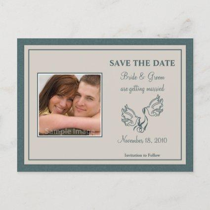 Save the Date Photo Cards - Teal Doves