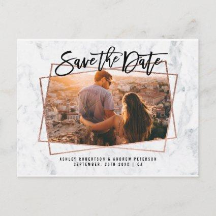 Save the date photo script rose gold marble announcement