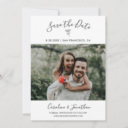 Save the Date Photo Simple Floral Botanical