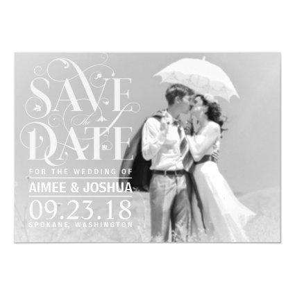 Save the Date Photo-Soft Transparent Overlay Text Magnetic Invitation
