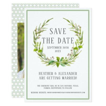 Save the Date Photo Template Watercolor Wreath Art