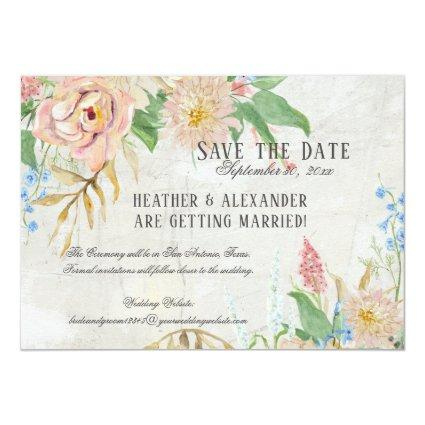 Save the Date Photo Watercolor Boho Floral Marble Invitation