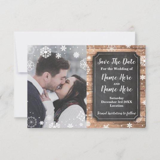 Save The Date Photo Winter Holidays Snowflake Wood