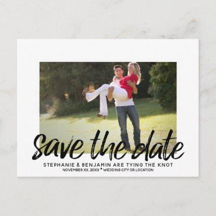Save the Date - Photo with Modern Lettering Black Announcement