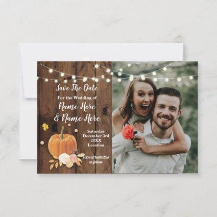 Save The Date Photo Wood Pumpkin Photo Wedding