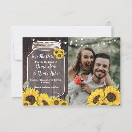 Save The Date Photo Wood Sunflower Photo Wedding