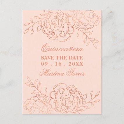 Save the Date Pink and Rose Gold Fine Art Floral Announcement