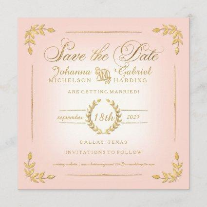 Save the Date, Pink n Gold Laurel Leaf Typography Save The Date