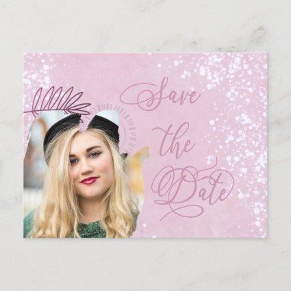 Save the Date Pink Watercolor Wash Photo Announcement