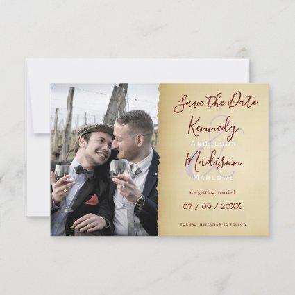 Save the Date Plain Text Sepia Wedding