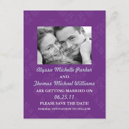 Save The Date Post Card with Your Photo (Purple)