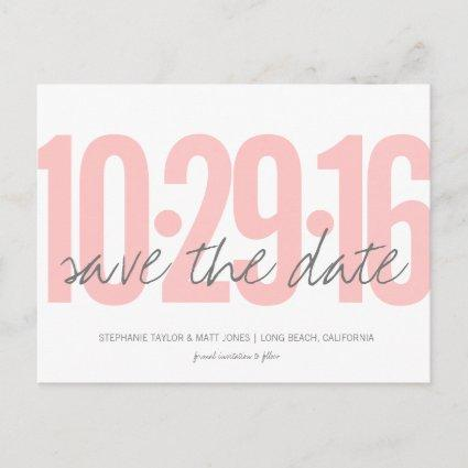 , Large Date, blush pink Announcements Cards