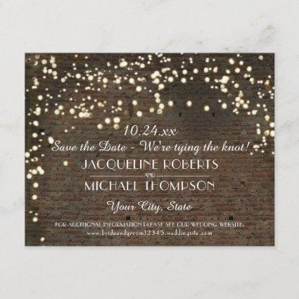 Save the Date Cards String Lights Brick