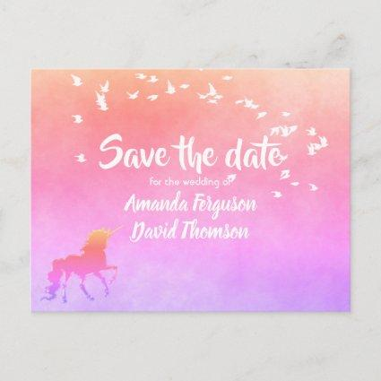Save the date  unicorn on rainbow colors