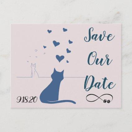 Save the date  with cats in love