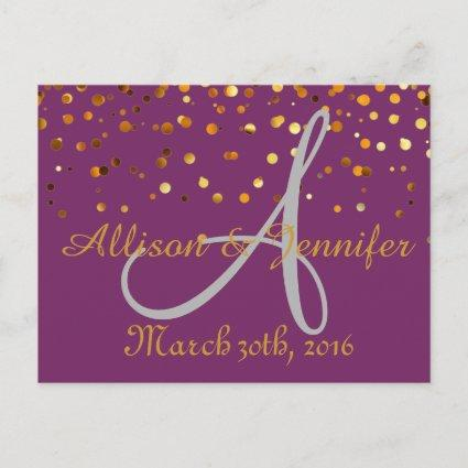 Purple and Gold Glitter Faux Foi Announcements Cards