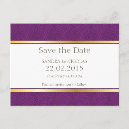 Save the date Purple Pattern Cards
