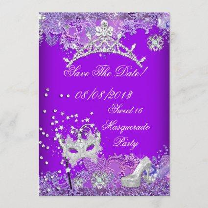 Save The Date Purple Sweet Sixteen 16 Masquerade 2