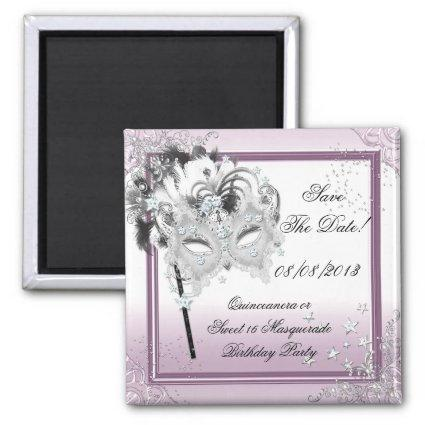 Save The Date Quinceanera Sweet 16 Masquerade Pink Magnet