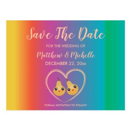 Rainbow Cute Wedding Announcements Cards