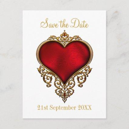 Save the Date Red Gold Heart White