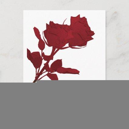 Save the Date Red Rose Template Post Card