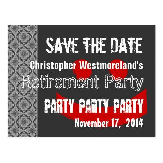 save the date retirement party red gray v01 cards save the date cards