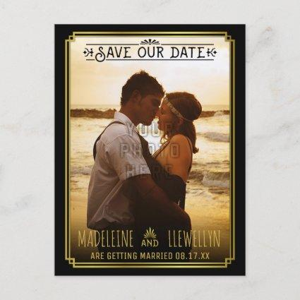 Save the Date Retro Black Gold Deco Wedding Photo Announcement