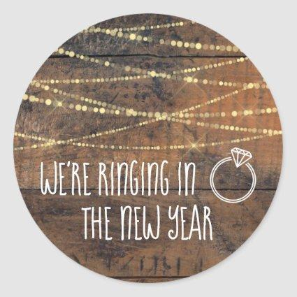 Save the Date Ringing in the New Year Engagement Classic Round Sticker