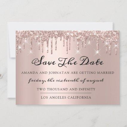 Save The Date  Rose Drips Spark Glitter Gray Silve