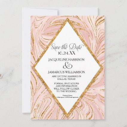 Save the Date Rose Gold Faux Glitter Marble Blush