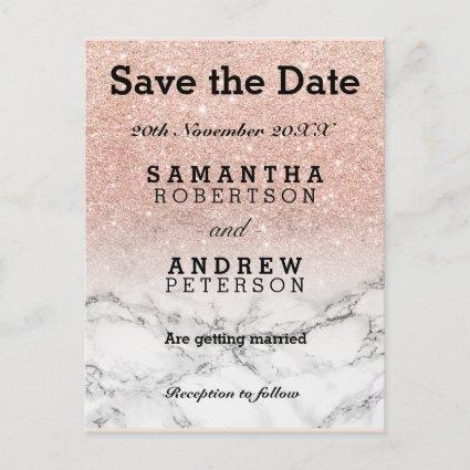 Save the Date rose gold faux glitter ombre marble Announcement