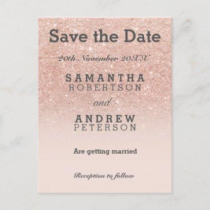 Save the Date rose gold faux glitter pink ombre Announcements Cards