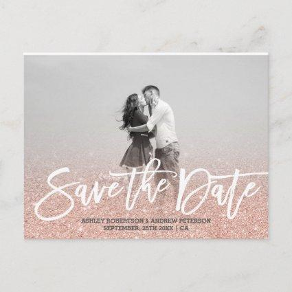 Save the Date rose gold faux glitter pink photo Announcement